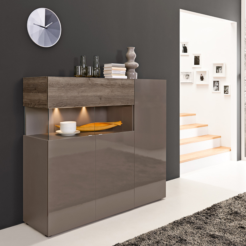 highboard eiche dunkel hochglanz cubanit vitrine wohnzimmer esszimmer schrank ebay. Black Bedroom Furniture Sets. Home Design Ideas