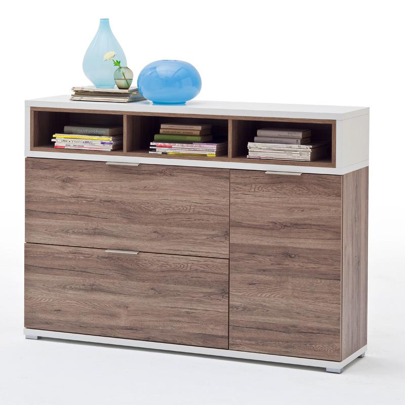 schuhschrank sanremo eiche wei led schuhkommode schuhkipper garderobenschrank ebay. Black Bedroom Furniture Sets. Home Design Ideas