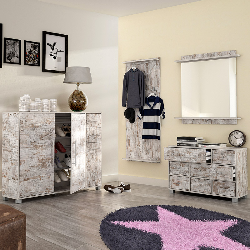 garderoben set eiche antik schuhschrank flurgarderobe flurm bel spiegel kommode ebay. Black Bedroom Furniture Sets. Home Design Ideas