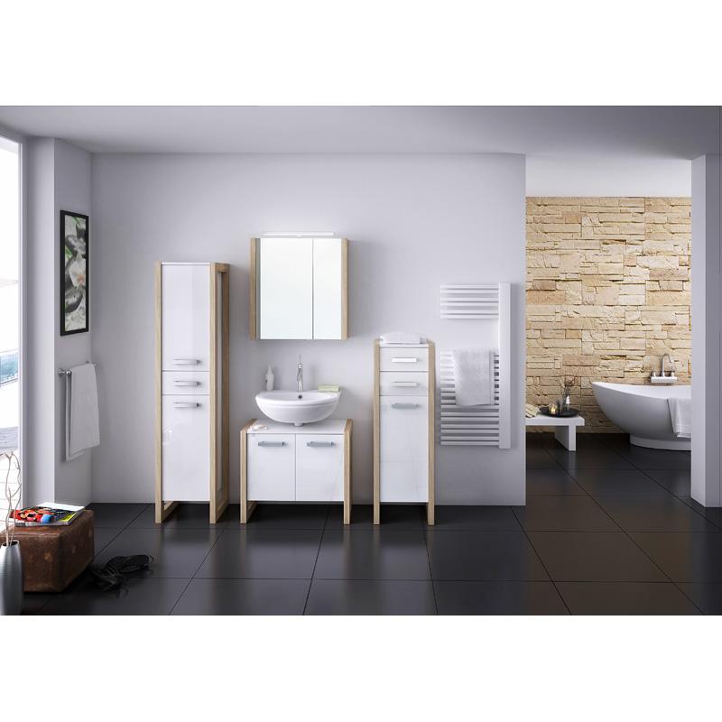 hochschrank wei eiche sonoma badschrank badm bel badezimmerm bel schrank bad ebay. Black Bedroom Furniture Sets. Home Design Ideas