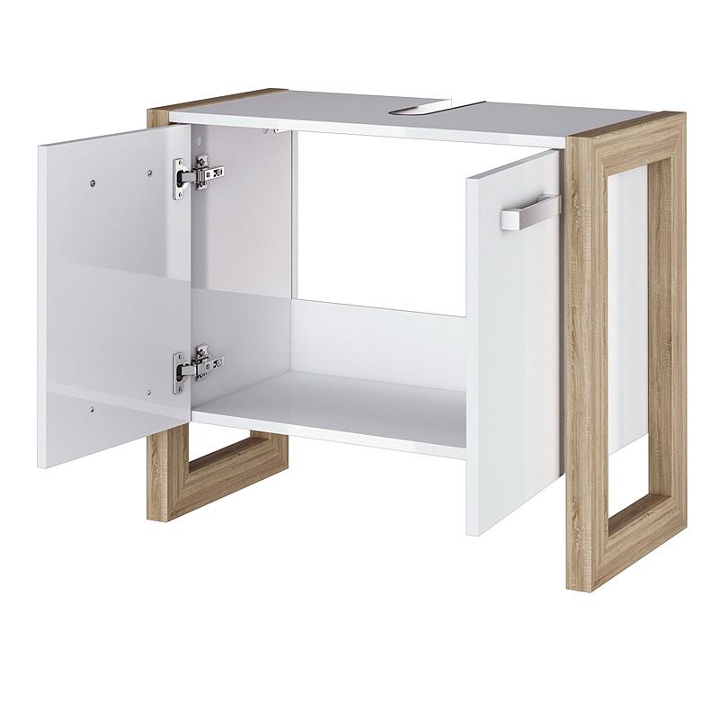 waschbeckenunterschrank wei eiche sonoma badschrank. Black Bedroom Furniture Sets. Home Design Ideas