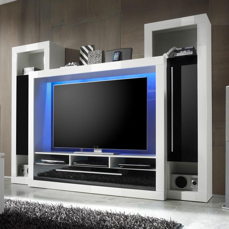 Wohnwand hochglanz led tv hifi media rack fernsehschrank - Kinderzimmermobel ebay ...