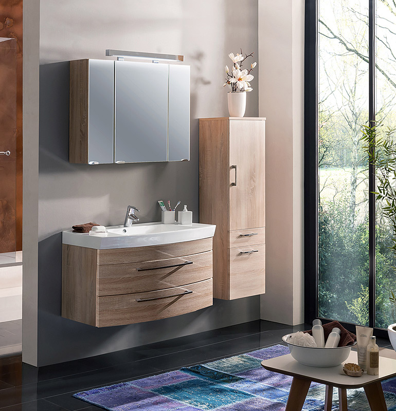 badezimmer set eiche sonoma spiegelschrank badm bel waschplatz waschtisch badset ebay. Black Bedroom Furniture Sets. Home Design Ideas