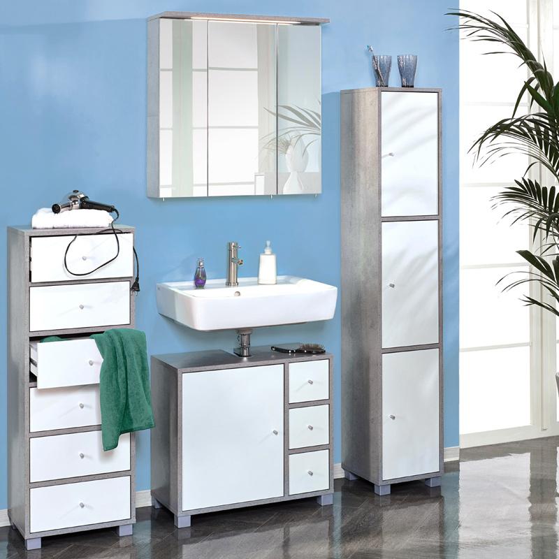 badezimmer set wei grau badezimmerm bel spiegelschrank hochschrank badschrank ebay. Black Bedroom Furniture Sets. Home Design Ideas