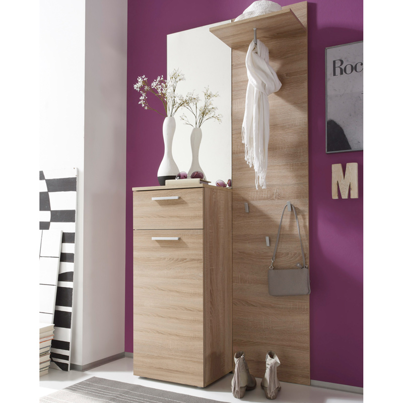 garderobe eiche s gerau hell standgarderobe. Black Bedroom Furniture Sets. Home Design Ideas