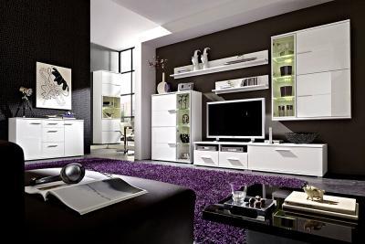 wohnwand wohnzimmer einrichtung hochglanz wei 9tlg led ebay. Black Bedroom Furniture Sets. Home Design Ideas