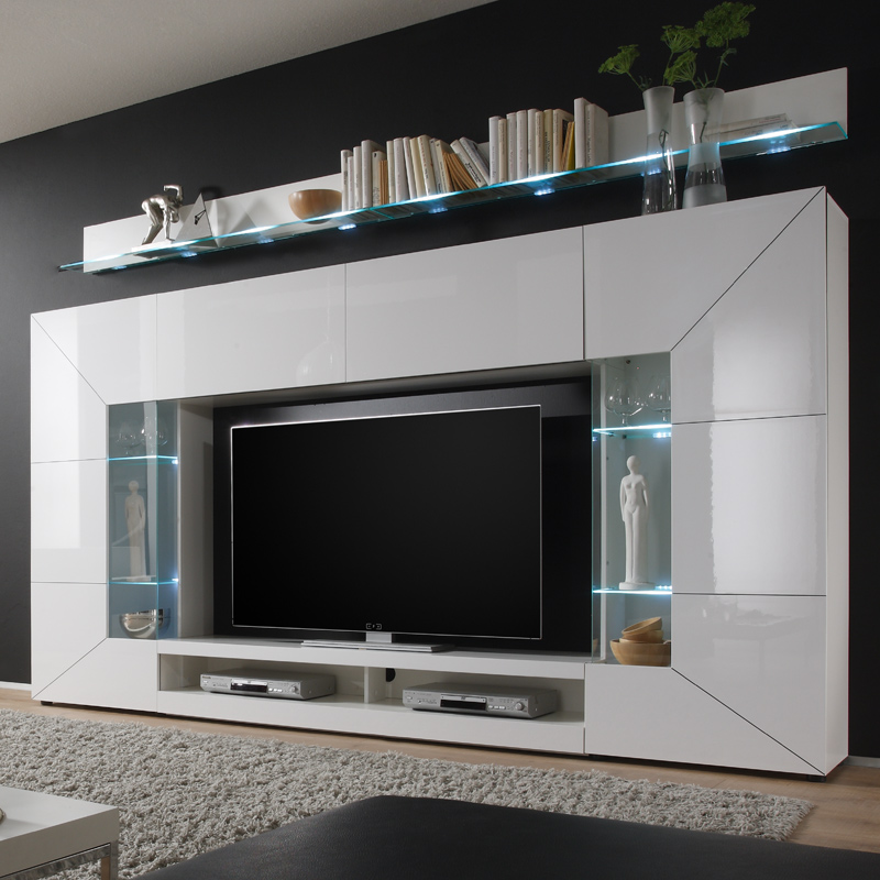 wohnwand hochglanz wei led tv hifi rack tv fernsehschrank anbauwand schrankwand ebay. Black Bedroom Furniture Sets. Home Design Ideas