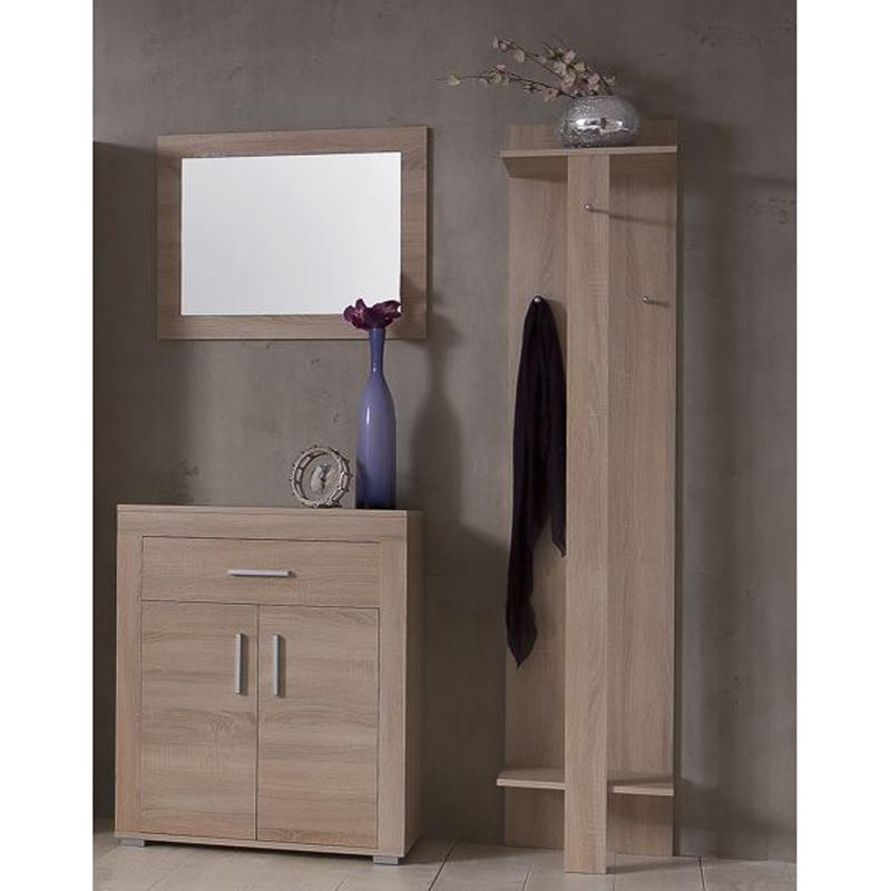 garderoben set eiche sonoma garderobenpaneel schuhschrank spiegel diele flur ebay. Black Bedroom Furniture Sets. Home Design Ideas