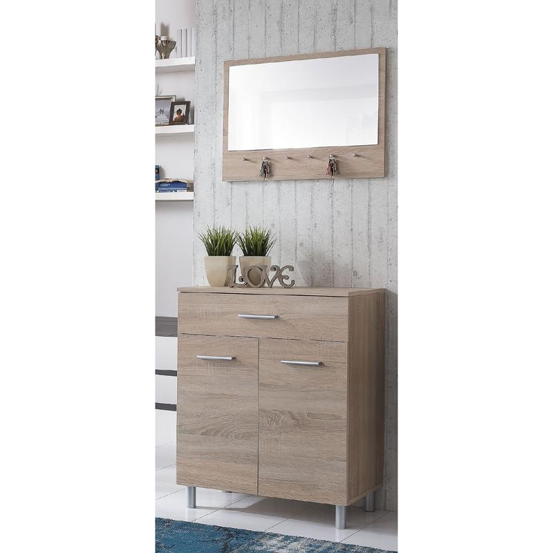 garderoben set sonoma eiche schuhschrank wandspiegel. Black Bedroom Furniture Sets. Home Design Ideas