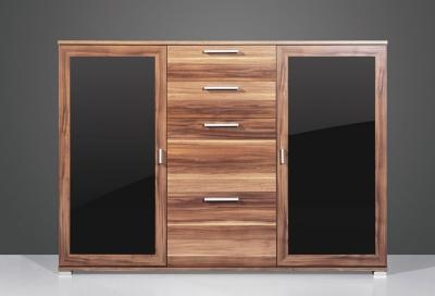 neu kommode sideboard anrichte walnuss glasfront schwarz esszimmer schrank ebay. Black Bedroom Furniture Sets. Home Design Ideas