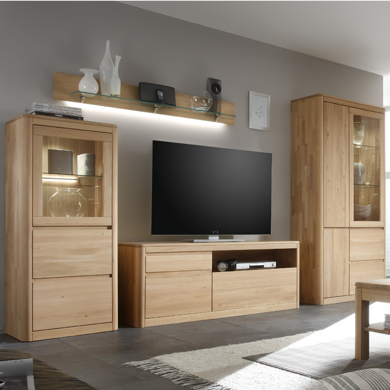 wandboard eiche bianco massiv wohnzimmer wandregal led glasboden regal glasregal ebay. Black Bedroom Furniture Sets. Home Design Ideas