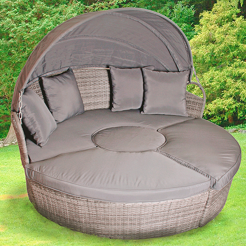 Sitzinsel grau schwarz Gartenmöbel Sitzmuschel Liegestuhl ...
