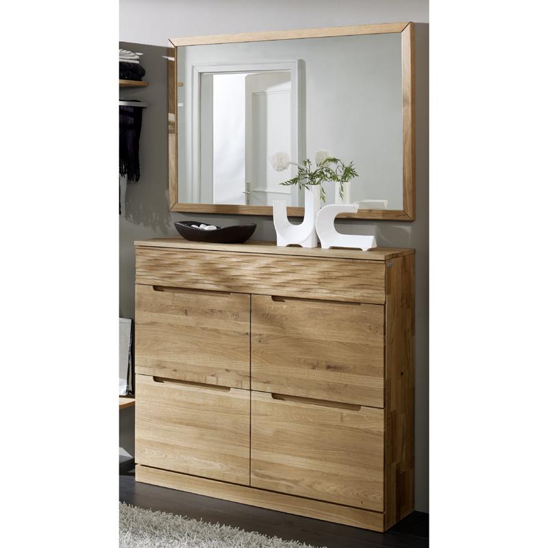 Garderoben set wildeiche massiv spiegel schuhschrank for Schuhkommode mit spiegel