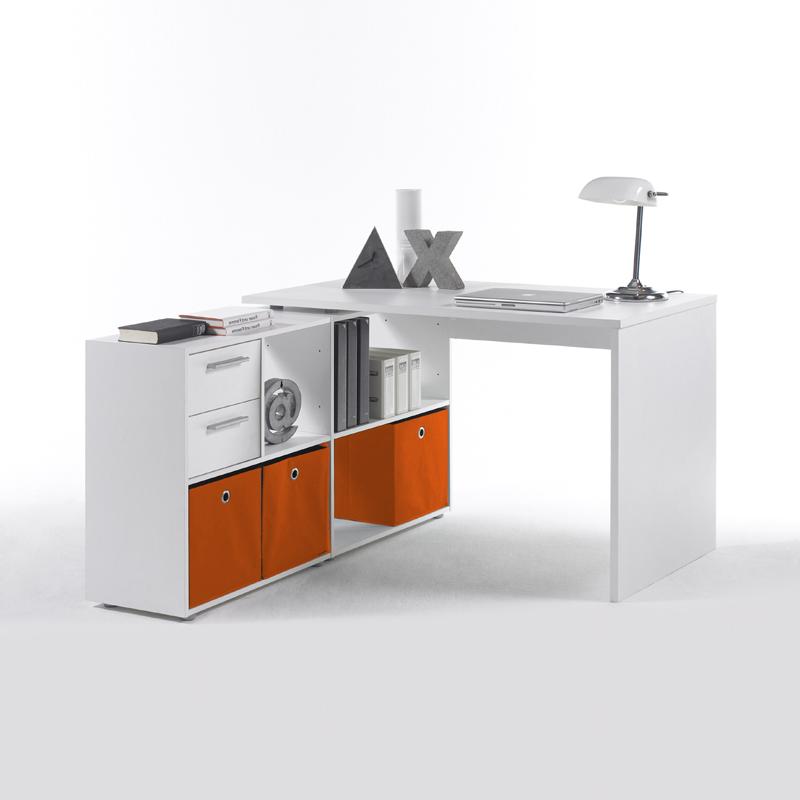 Schreibtisch Weiß Inkl Faltboxen Orange Bürotisch PC Tisch