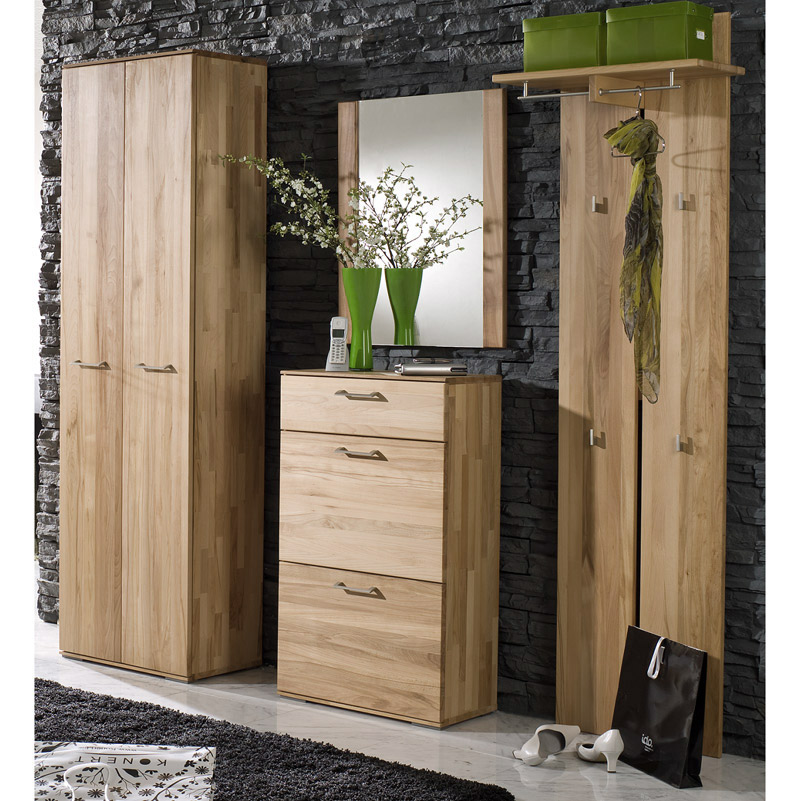 garderoben set kernbuche massiv dielenschrank schuhschrank garderobenelement ebay. Black Bedroom Furniture Sets. Home Design Ideas