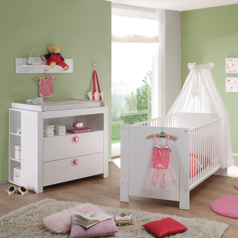 babyzimmer set wei rosa filz babybett wickelkommode. Black Bedroom Furniture Sets. Home Design Ideas