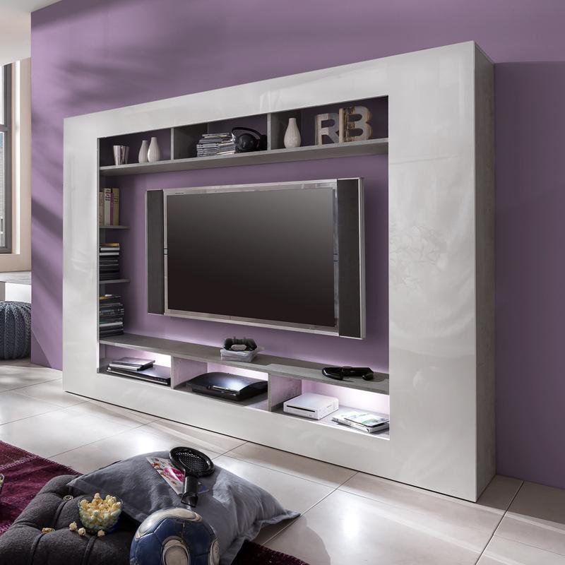 mediawand beton industry hochglanz wei wohnwand. Black Bedroom Furniture Sets. Home Design Ideas