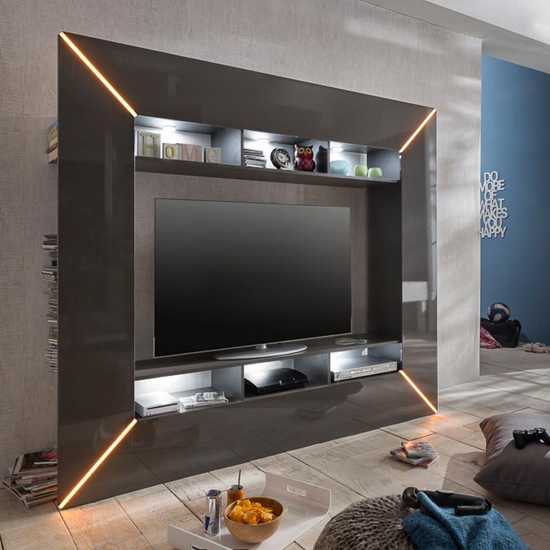 Moderne Wohnwand Hochglanz grau LED Wohnzimmer Fernsehschrank ...