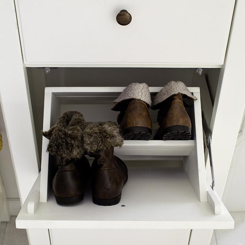 Landhaus schuhschrank schuhkommode teilmassiv wei - Kinderzimmermobel ebay ...