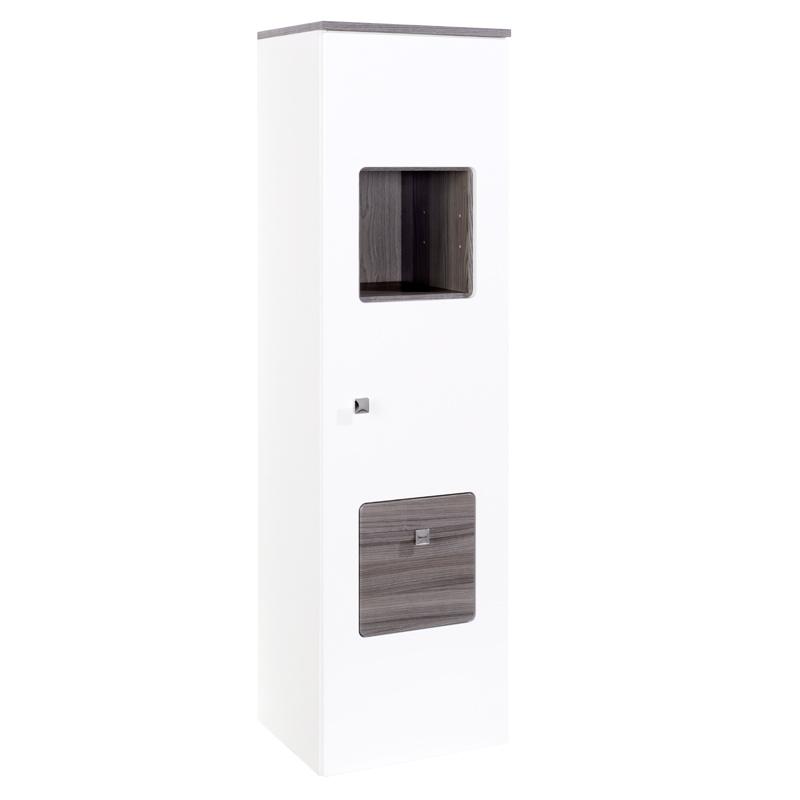 badezimmer midischrank hochschrank hochglanz wei eiche seitenschrank badschrank. Black Bedroom Furniture Sets. Home Design Ideas