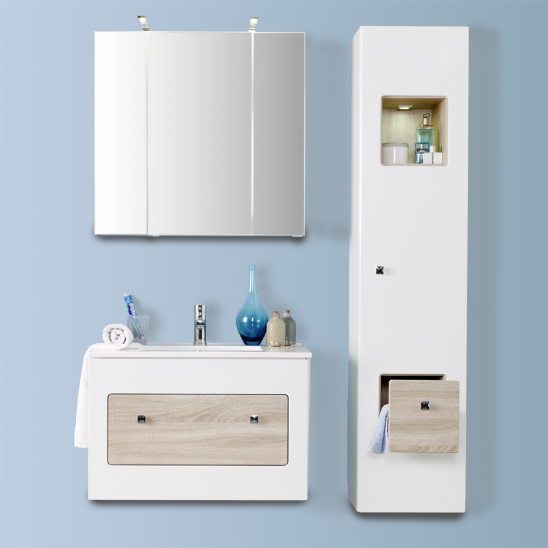 badm bel set hochglanz wei eiche sonoma waschtisch. Black Bedroom Furniture Sets. Home Design Ideas