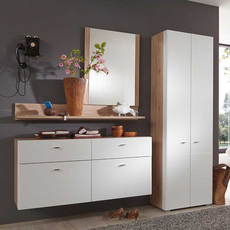 garderoben set wei eiche sanremo kommode wandboard kleiderschrank spiegel flur. Black Bedroom Furniture Sets. Home Design Ideas