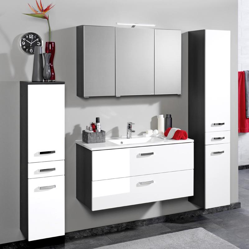 badezimmer midischrank hochglanz wei grau bad hochschrank badezimmerschrank ebay. Black Bedroom Furniture Sets. Home Design Ideas