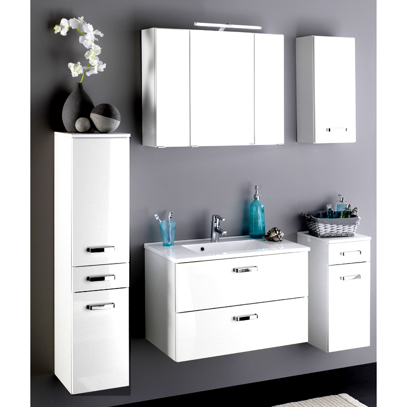 badezimmer waschplatz set hochglanz wei waschtisch. Black Bedroom Furniture Sets. Home Design Ideas