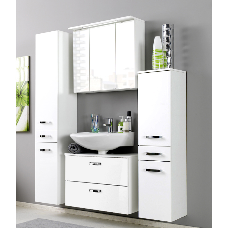 waschbeckenunterschrank hochglanz wei 60cm waschbeckenschrank badschrank bad ebay. Black Bedroom Furniture Sets. Home Design Ideas