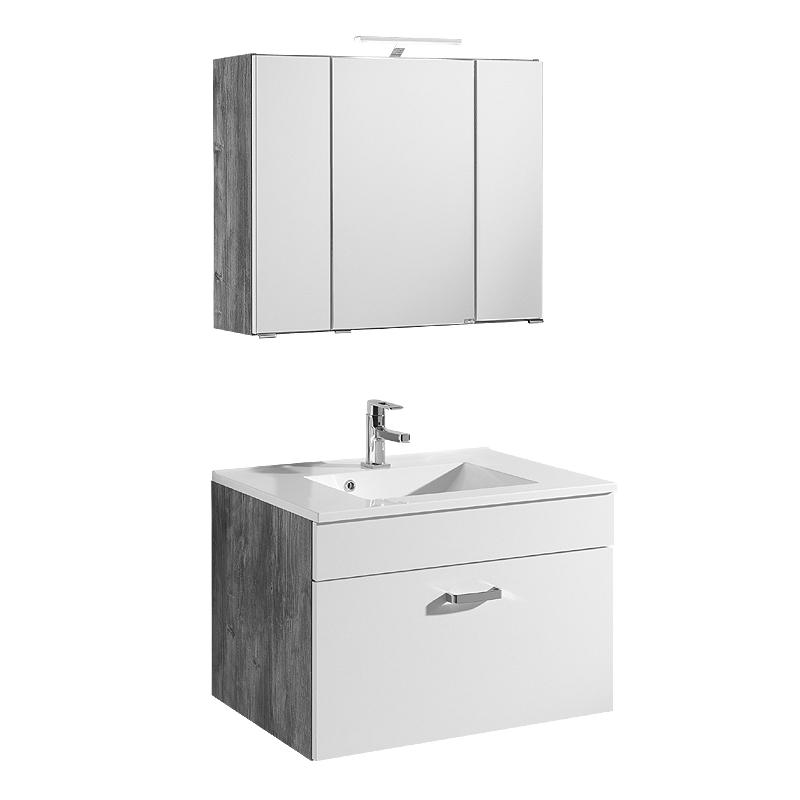 badezimmer waschplatz set 80cm wei eiche vintage. Black Bedroom Furniture Sets. Home Design Ideas