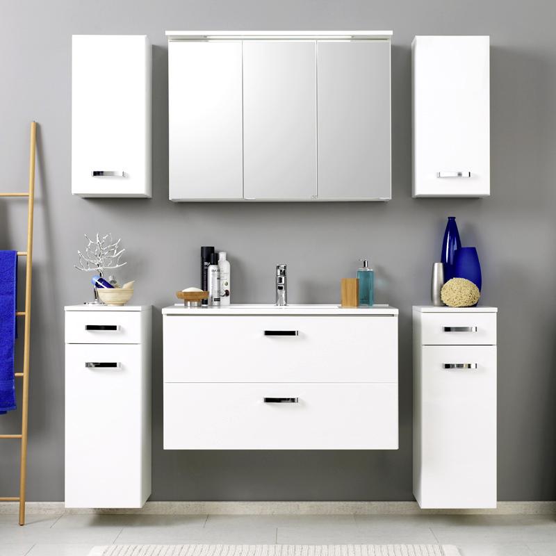 komplett badezimmer set hochglanz wei waschtisch led. Black Bedroom Furniture Sets. Home Design Ideas