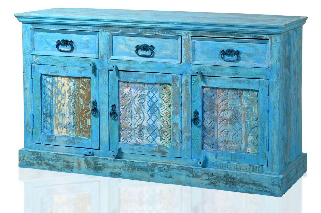 Vintage sideboard altholz blau anrichte kommode - Kinderzimmermobel ebay ...