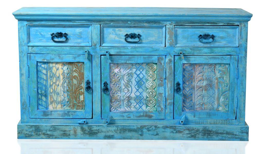 vintage sideboard altholz blau anrichte kommode. Black Bedroom Furniture Sets. Home Design Ideas