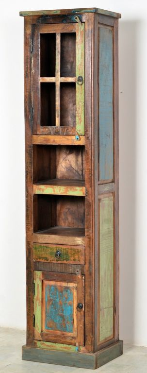 bild wohnzimmer bunt:Hochschrank recyceltes Holz bunt lackiert Wohnzimmer Highboard Schrank