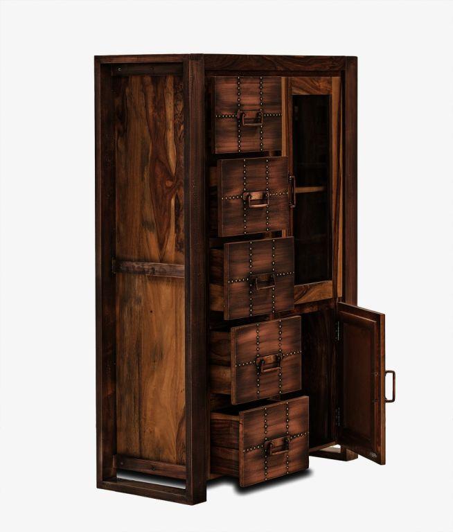 highboard brotschrank sheesham teilmassiv wohnzimmer. Black Bedroom Furniture Sets. Home Design Ideas