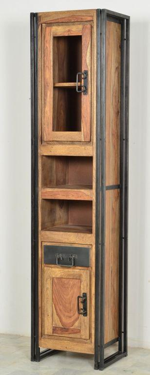 Hochschrank sheesham massiv metall wohnzimmer highboard - Kinderzimmermobel ebay ...