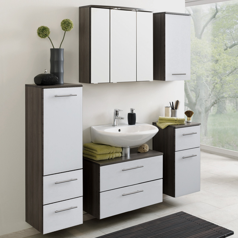 waschbeckenunterschrank hochglanz wei eiche badezimmerm bel badschrank badm bel ebay. Black Bedroom Furniture Sets. Home Design Ideas