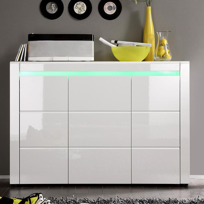 Abverkauf Kommode Hochglanz Weiß Highboard Wohnzimmer Schrank