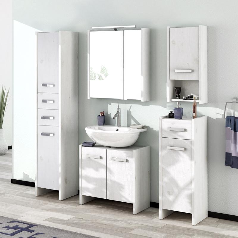 landhaus badezimmer hochschrank massiv wei gewischt badezimmerschrank badm bel ebay. Black Bedroom Furniture Sets. Home Design Ideas