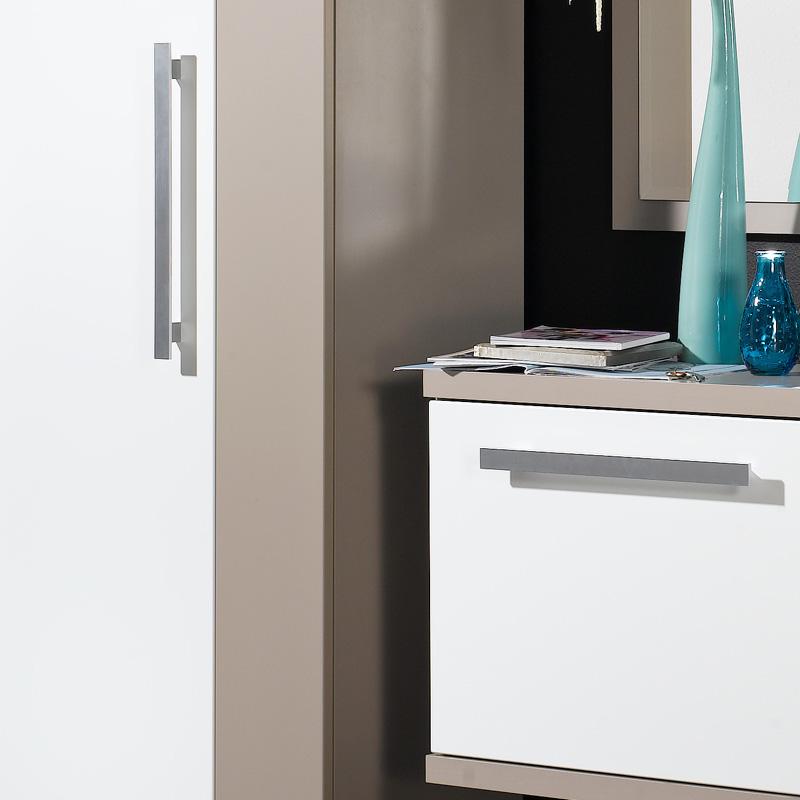 garderoben set matt wei steingrau spiegel schrank. Black Bedroom Furniture Sets. Home Design Ideas