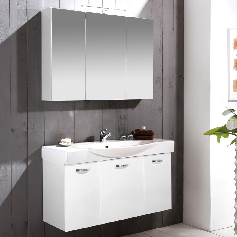 badezimmer waschplatz set 100cm glanz wei bad spiegelschrank badezimmerm bel ebay. Black Bedroom Furniture Sets. Home Design Ideas