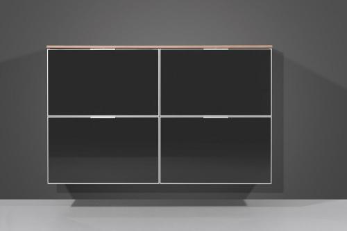 garderobe schuhschrank kommode glasfront anthrazit ebay. Black Bedroom Furniture Sets. Home Design Ideas