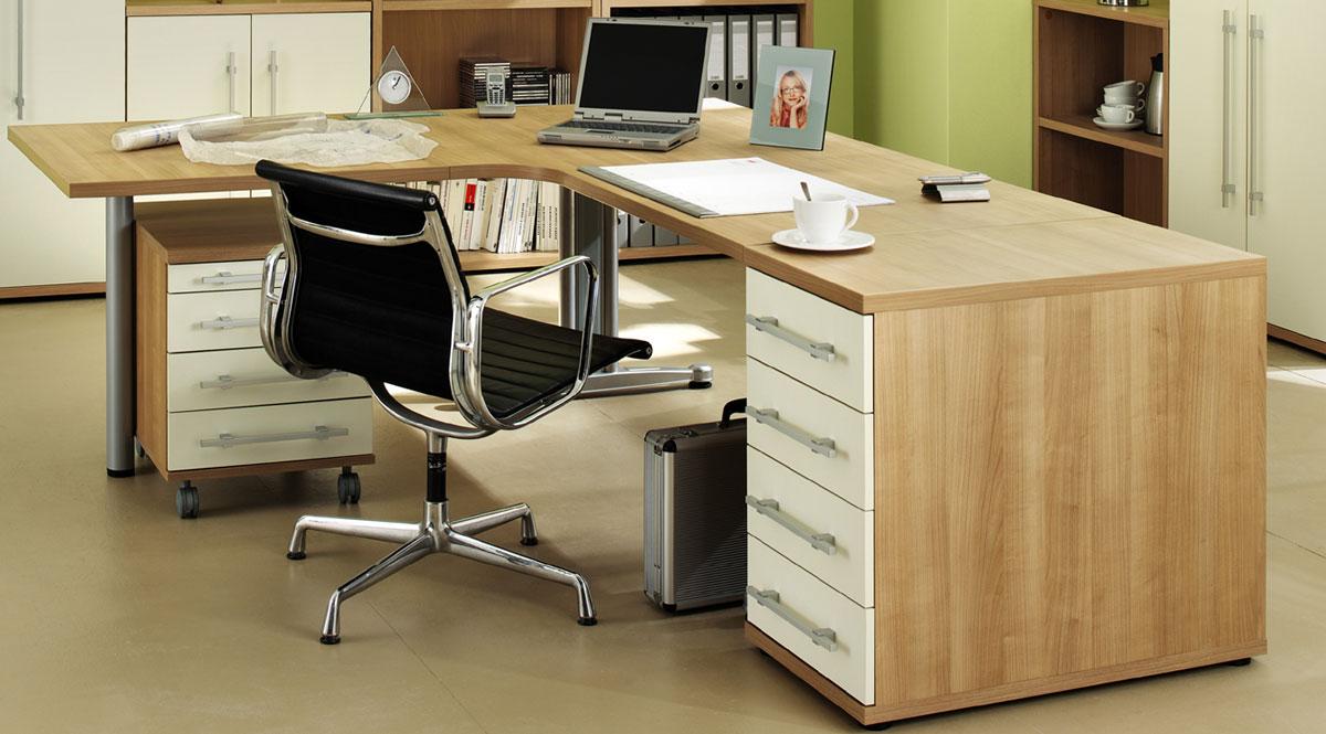 neu b ro schreibtisch kombi noce elfenbein 4tlg set ebay. Black Bedroom Furniture Sets. Home Design Ideas