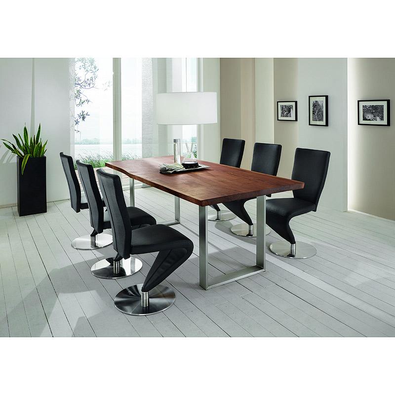 esszimmer set nussbaum 200cm esstisch essgruppe freischwinger schwingstuhl stuhl enger. Black Bedroom Furniture Sets. Home Design Ideas