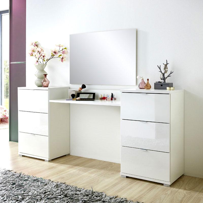 schminktisch set hochglanz wei spiegel schminkplatz frisiertisch kosmetiktisch ebay. Black Bedroom Furniture Sets. Home Design Ideas