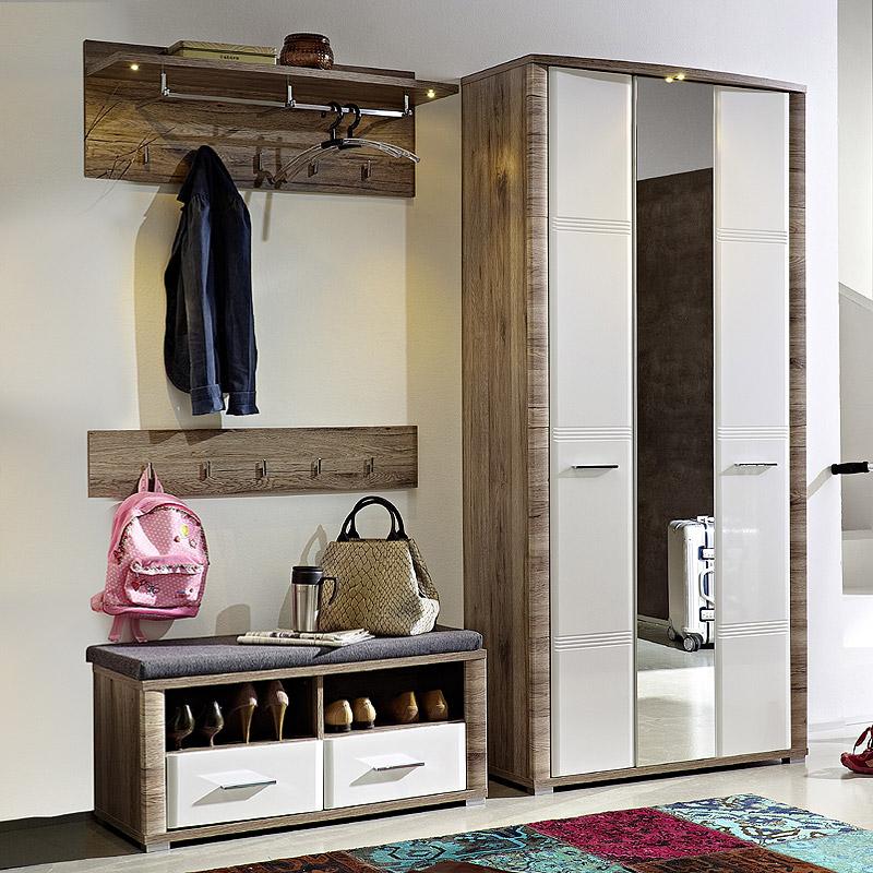 garderoben set eiche hochglanz wei flurm bel flurgarderobe kleiderschrank bank ebay. Black Bedroom Furniture Sets. Home Design Ideas