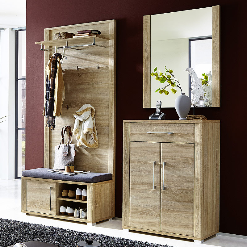 garderoben set sonoma eiche hell flurgarderobe schuhschrank bank polster paneel ebay. Black Bedroom Furniture Sets. Home Design Ideas