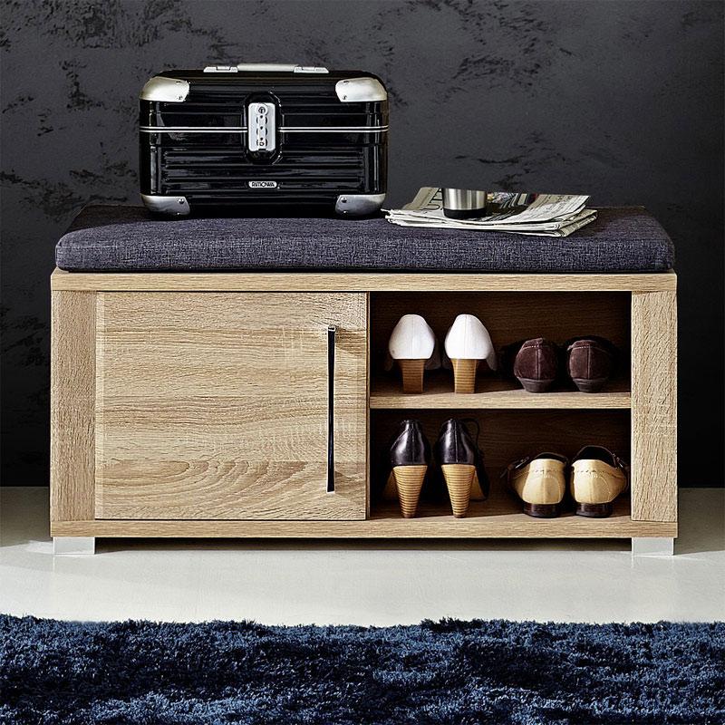 garderoben set sonoma eiche hell garderobenpaneel schuhschrank garderobenbank ebay. Black Bedroom Furniture Sets. Home Design Ideas