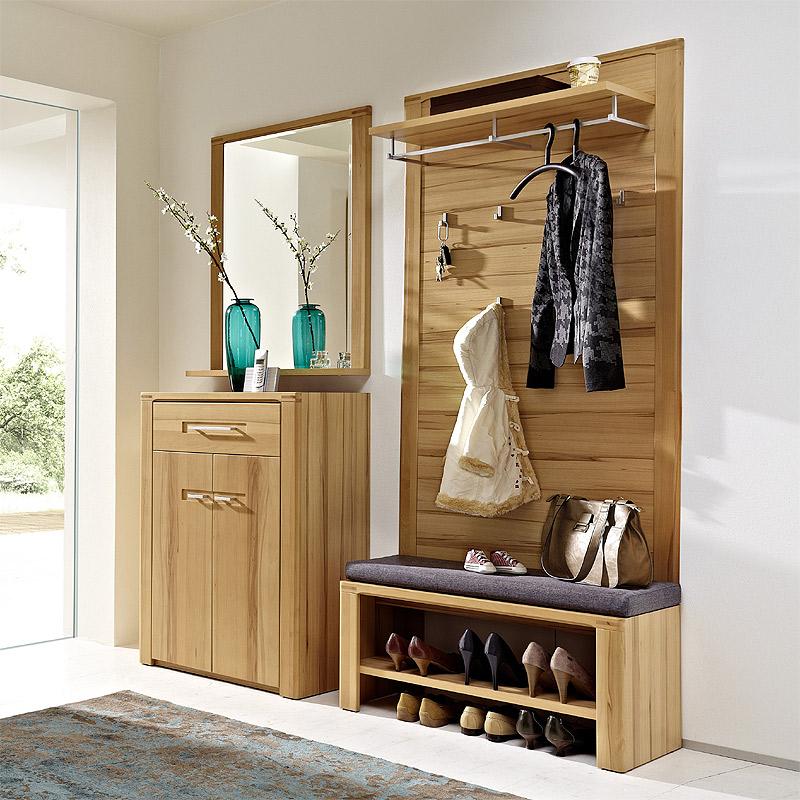 garderoben set kernbuche massiv schuhschrank. Black Bedroom Furniture Sets. Home Design Ideas