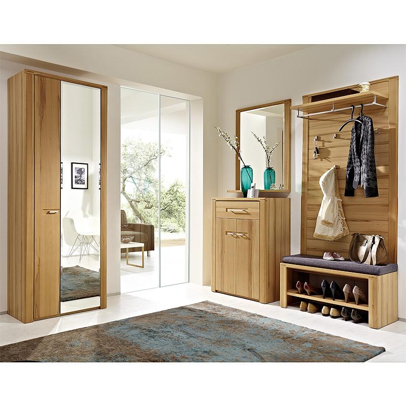garderoben set kernbuche massiv diele kleiderschrank bank garderobenpaneel flur ebay. Black Bedroom Furniture Sets. Home Design Ideas